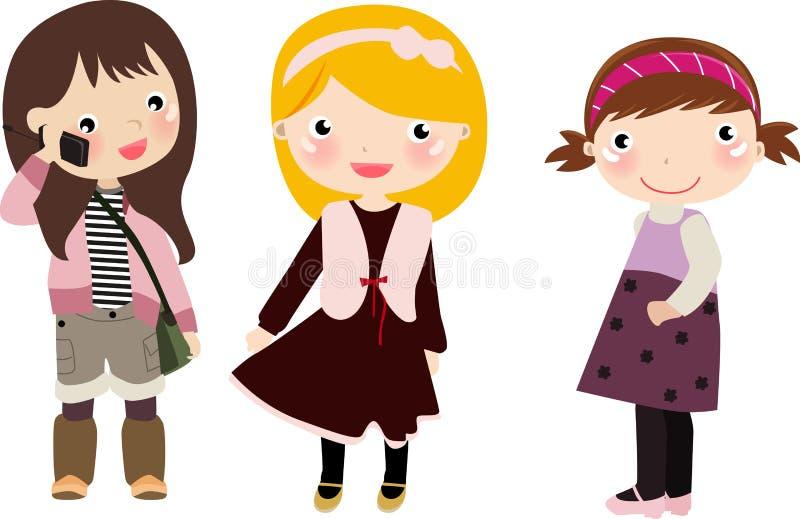 Tres muchachas, cabritos ilustración del vector