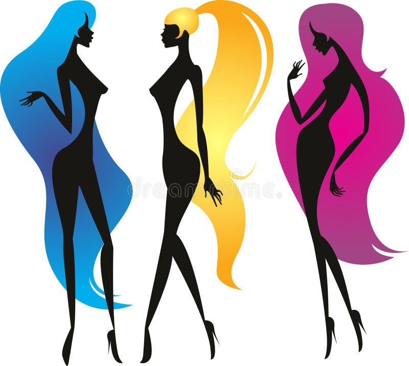 Tres muchachas con el pelo hermoso largo stock de ilustración