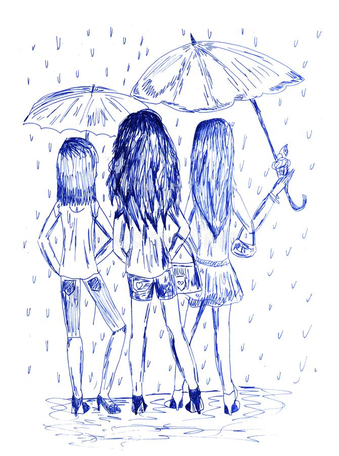 Tres muchachas con los paraguas Imagen dibujada mano monocromática por la pluma de la tinta libre illustration