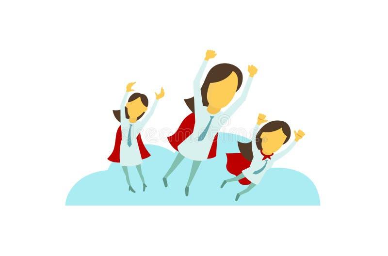 Tres muchachas de la señora del negocio del super héroe están volando sobre la ciudad con la mano para arriba Éxito y victoria En stock de ilustración