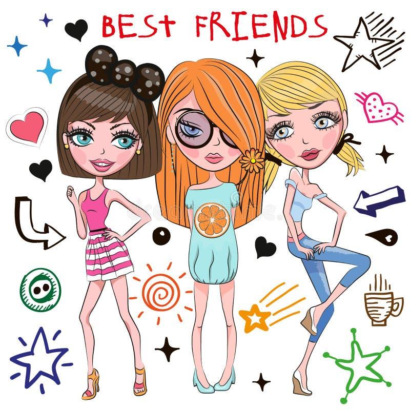 Tres muchachas lindas ilustración del vector