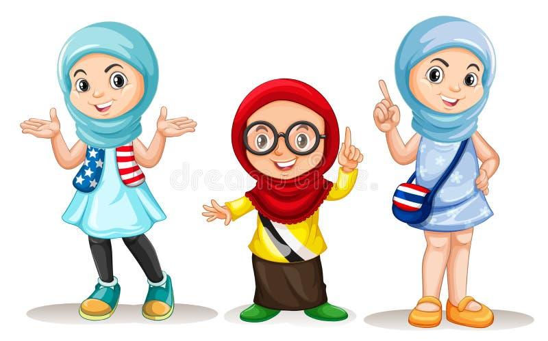Tres muchachas musulmanes con la cara feliz stock de ilustración