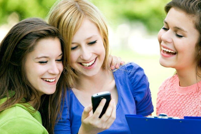 Tres muchachas que miran el teléfono móvil imagen de archivo