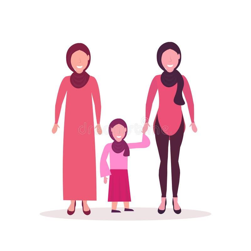 Tres mujeres árabes de las generaciones en el hijab que coloca juntos los caracteres femeninos musulmanes integrales completament stock de ilustración