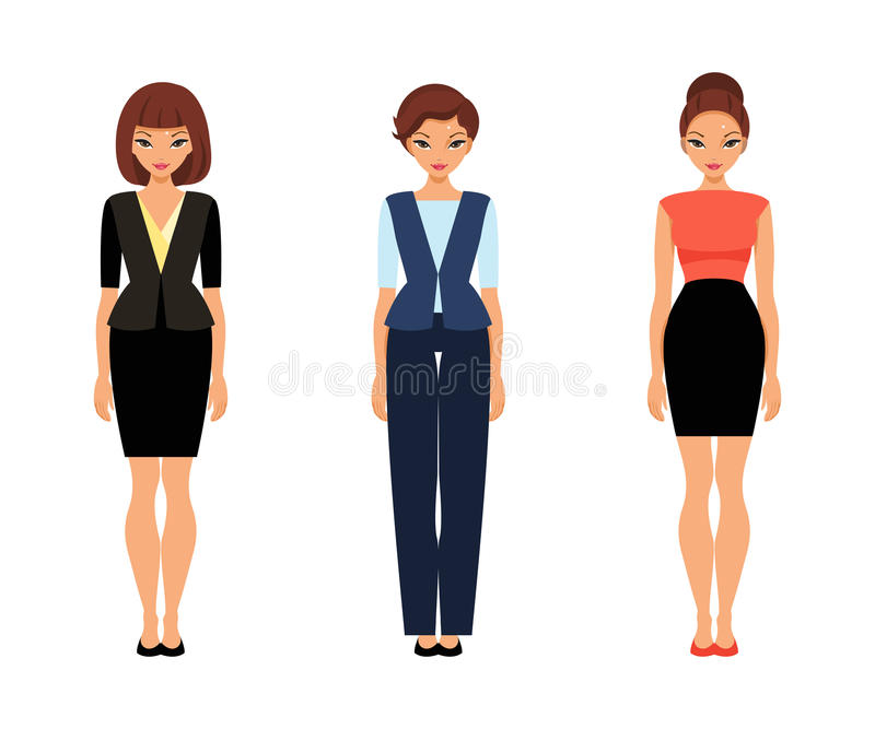 Tres mujeres de negocios en ropa de la oficina ilustraci n for Xxx porno en la oficina