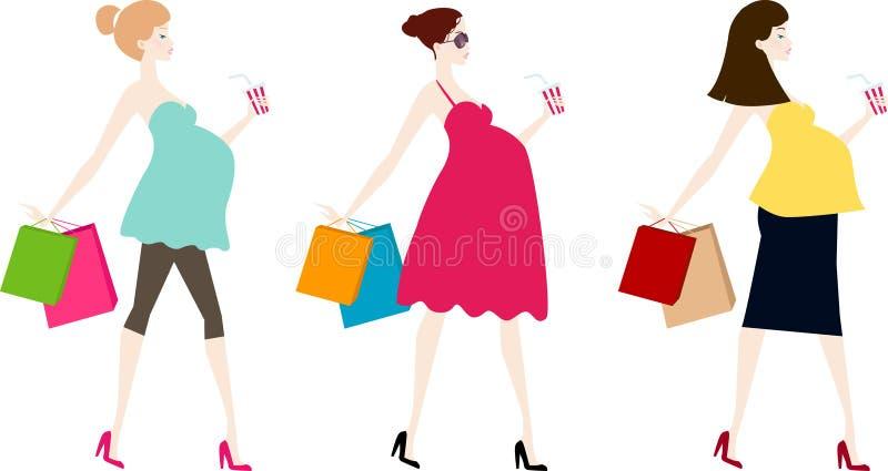 Tres mujeres embarazadas ilustración del vector