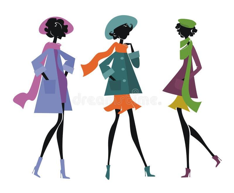 Tres mujeres en bufandas stock de ilustración