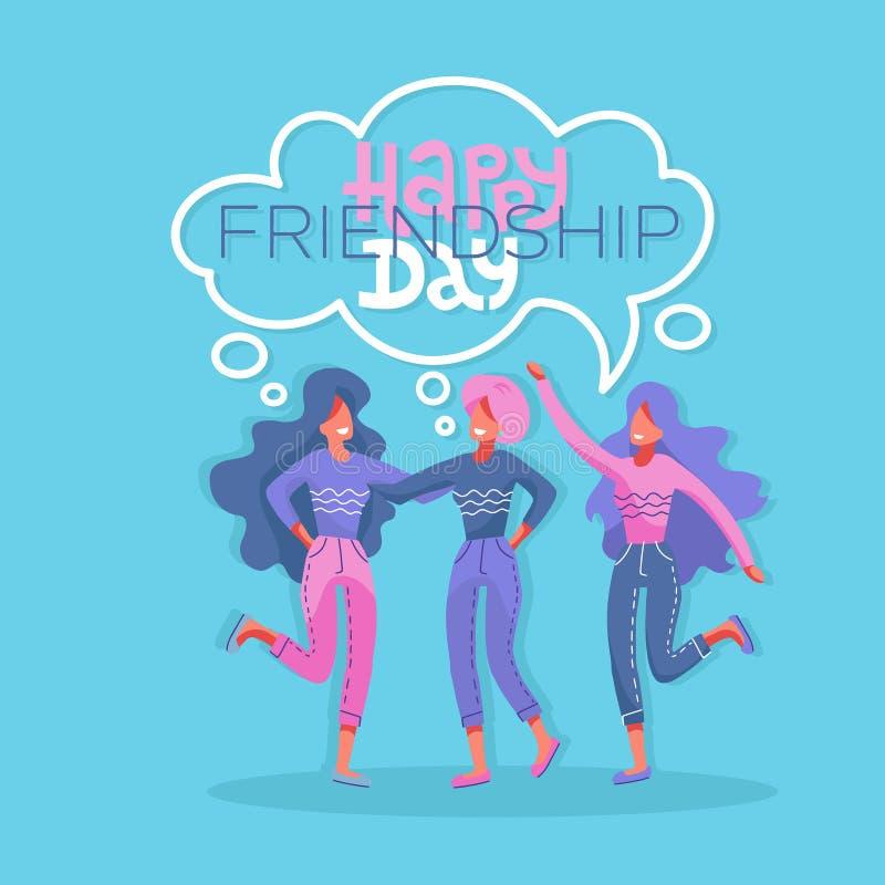Tres mujeres hermosas jovenes en un momento de amistad Ejemplo plano moderno del vector del estilo Tarjeta de felicitaci?n feliz  libre illustration
