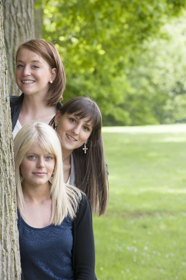 Tres mujeres jovenes que miran de detrás un árbol fotografía de archivo