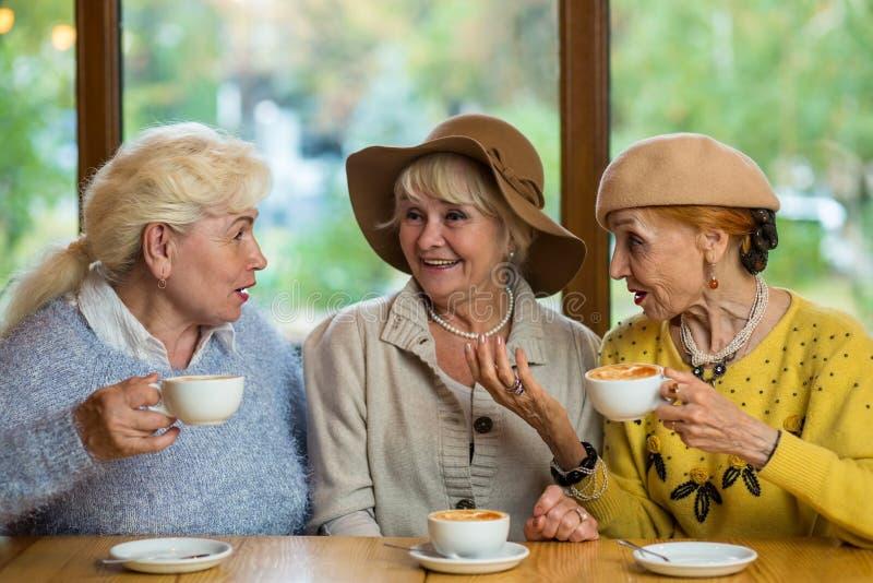 Tres mujeres mayores que beben el café imágenes de archivo libres de regalías