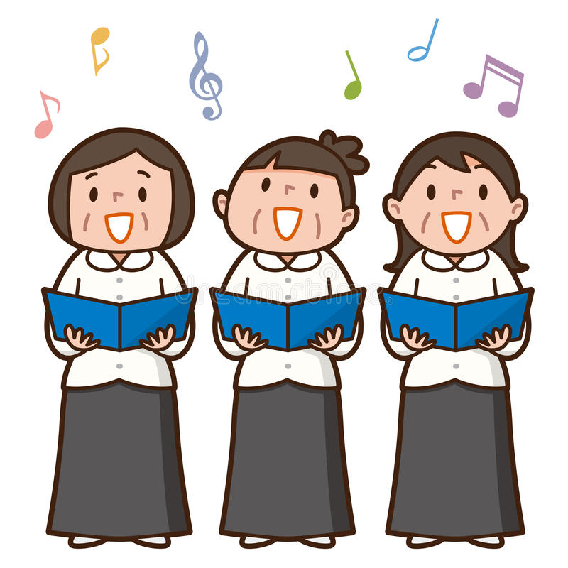 Tres mujeres mayores que cantan junto ilustración del vector