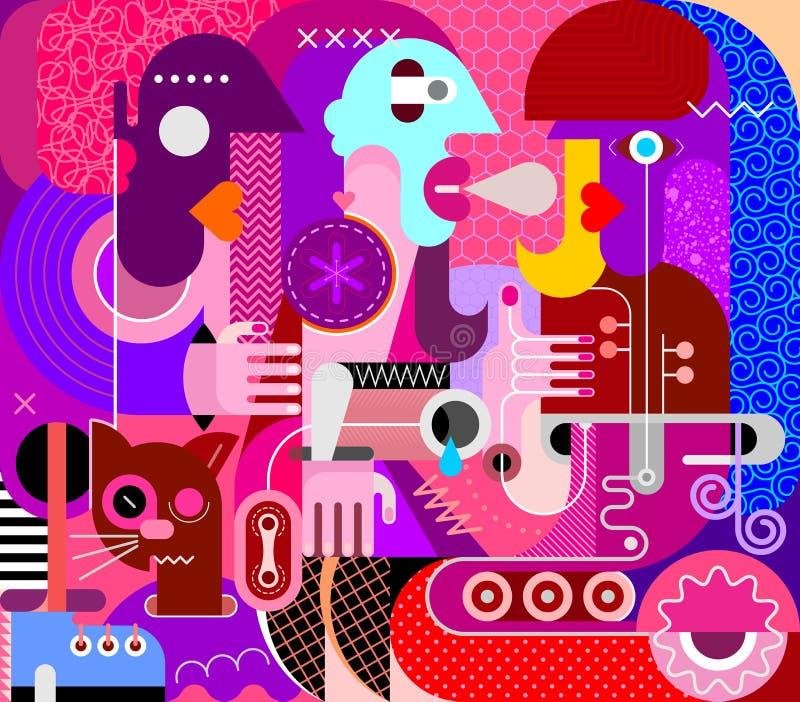 Tres mujeres y un gato libre illustration