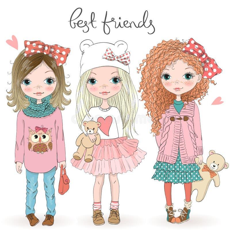 Tres niñas lindas hermosas exhaustas de la mano con el peluche refieren el fondo con los mejores amigos de la inscripción stock de ilustración