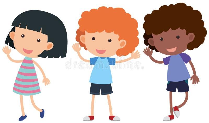 Tres niños con las manos que agitan de la cara feliz stock de ilustración