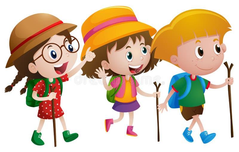 Tres niños con los bastones libre illustration