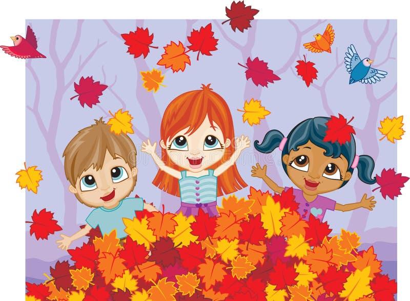 Diversión del otoño en una pila de hojas stock de ilustración