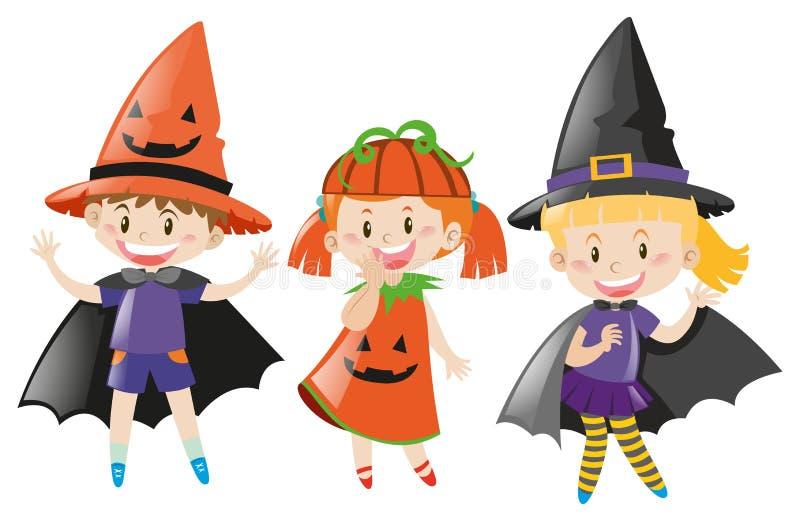 Tres niños en el traje de Halloween ilustración del vector