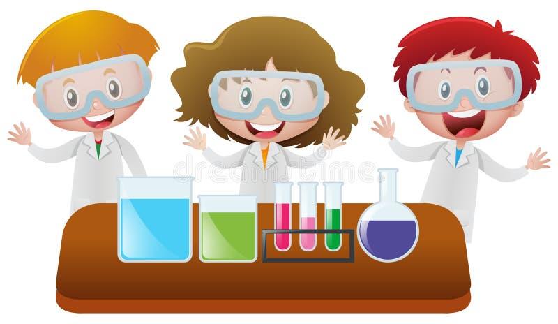 Tres niños en laboratorio de ciencia stock de ilustración