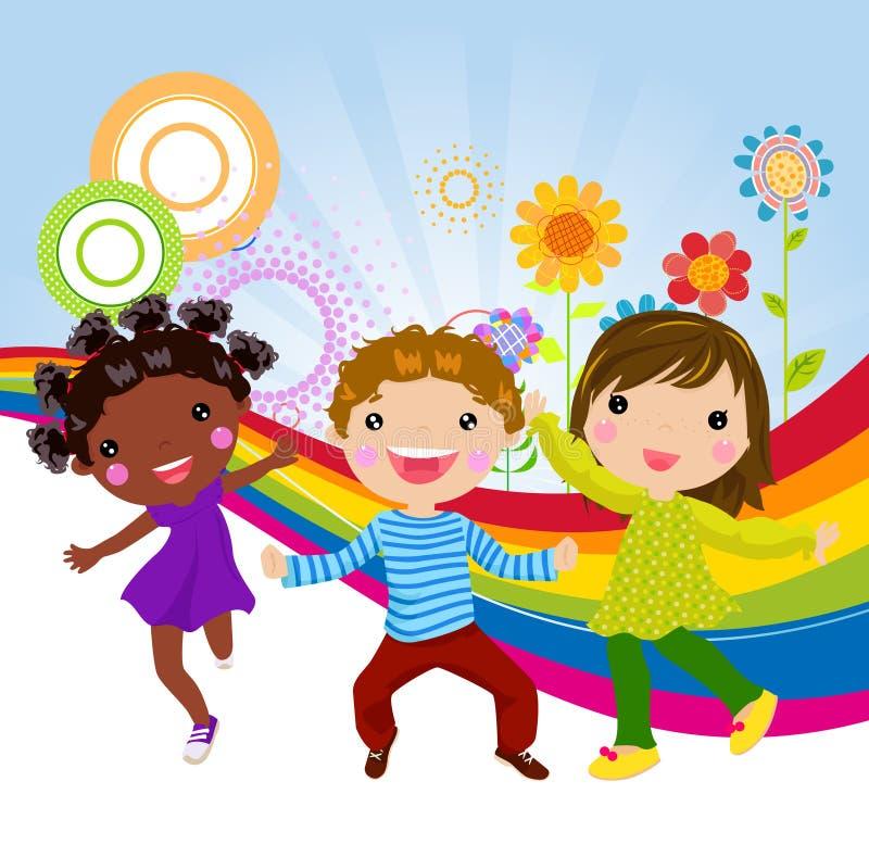 Tres niños felices stock de ilustración