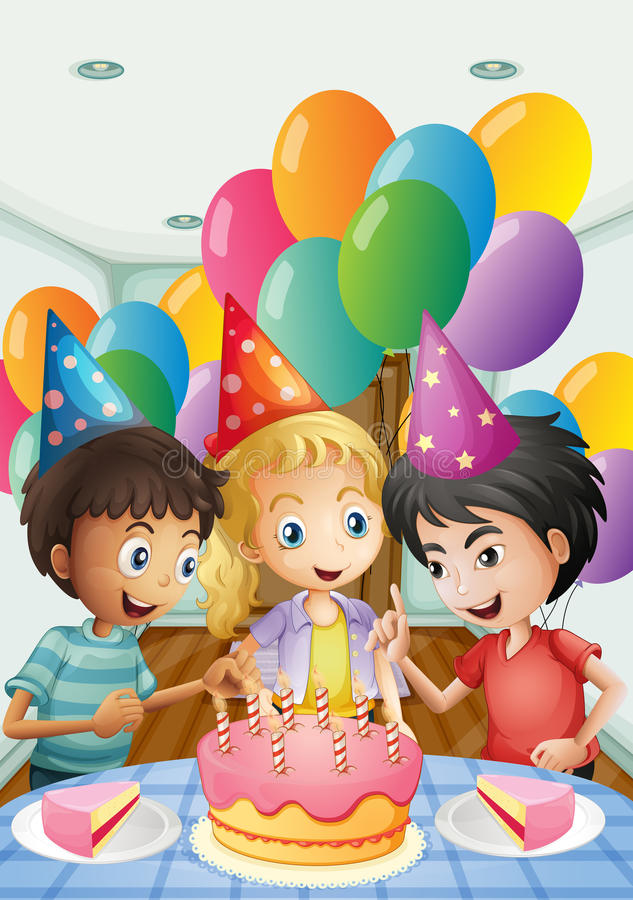 Tres niños que celebran un cumpleaños ilustración del vector