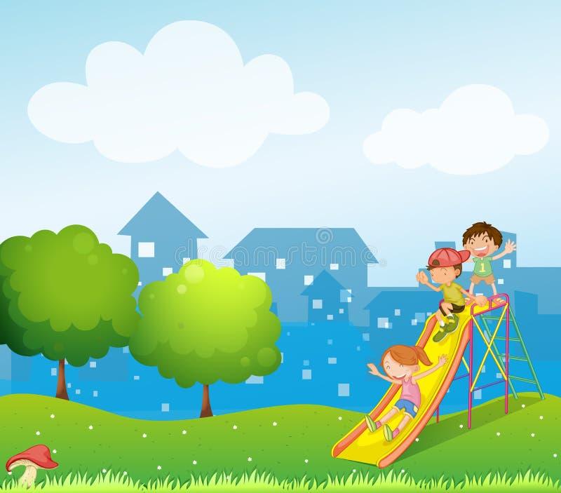 Tres niños que juegan en el patio ilustración del vector