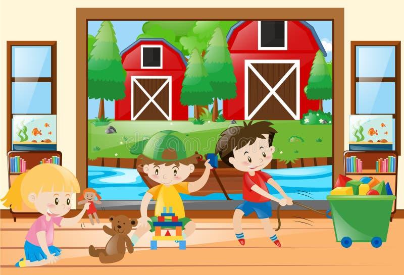 Tres niños que juegan los juguetes en casa ilustración del vector