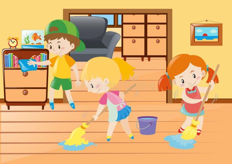 Tres niños que limpian en la casa stock de ilustración