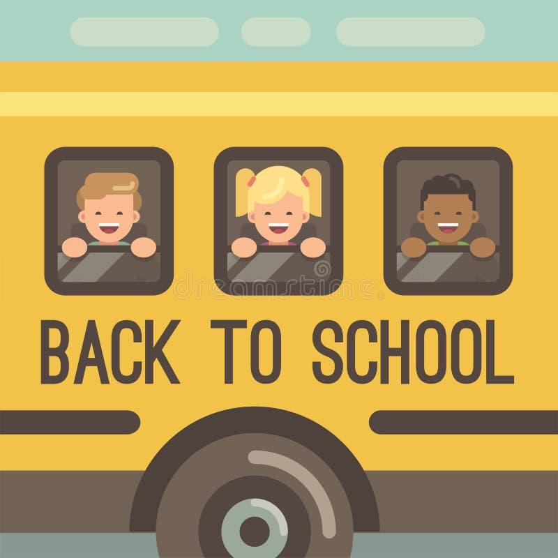 Tres niños que miran hacia fuera las ventanas de un autobús escolar stock de ilustración