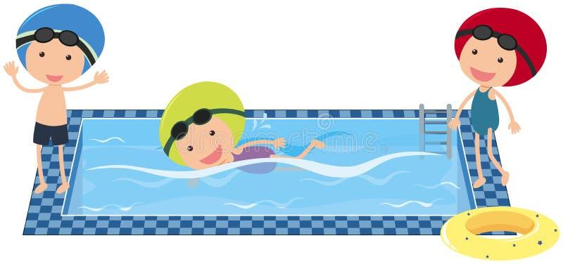 Tres niños que nadan en la piscina stock de ilustración