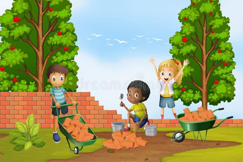 Tres niños que ponen ladrillos en la pared stock de ilustración