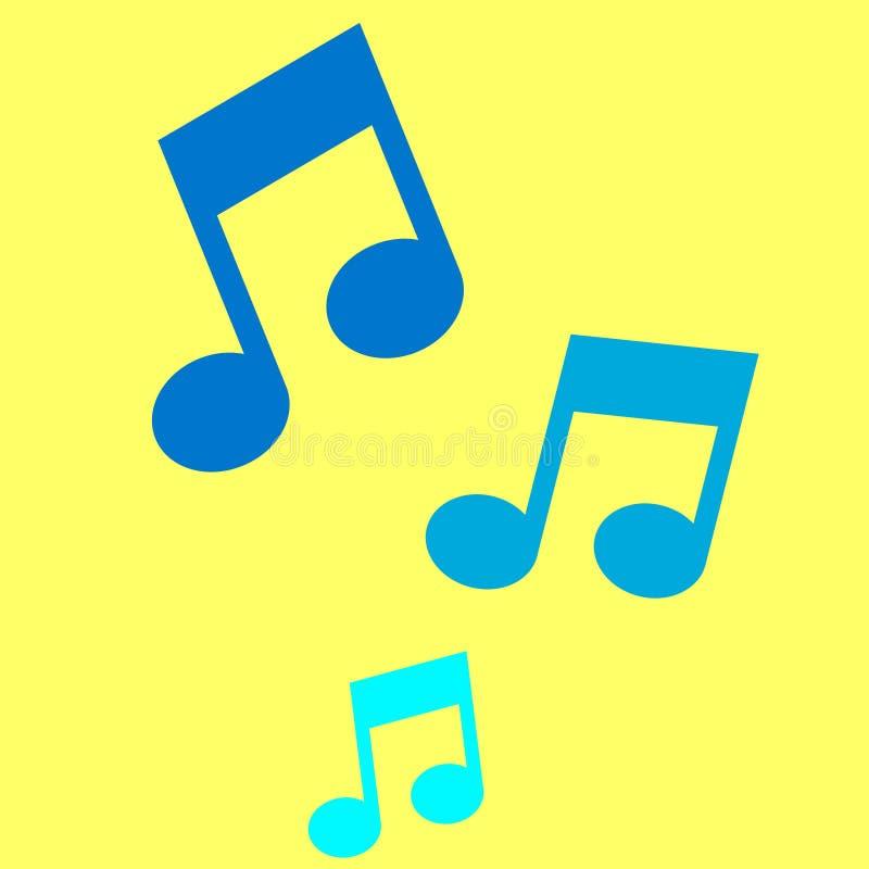 Tres notas musicales sobre fondo amarillo stock de ilustración