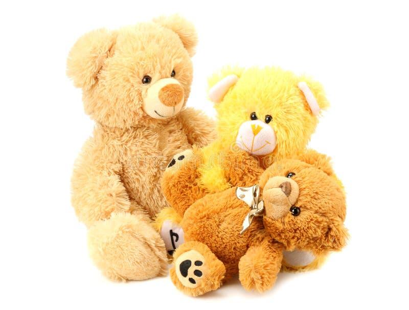 Tres osos de peluche del juguete aislados en el fondo blanco foto de archivo libre de regalías