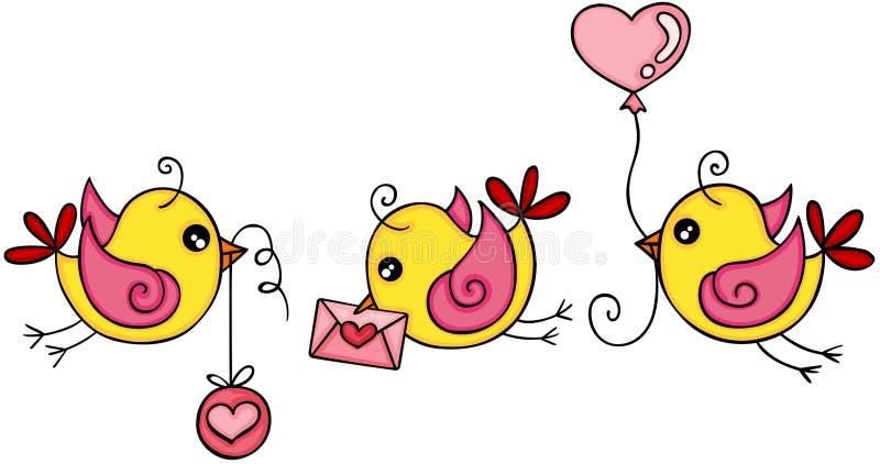 Tres pájaros amarillos lindos del amor ilustración del vector