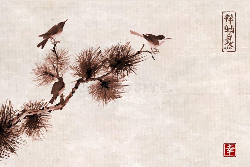 Tres pájaros en rama de árbol de pino Sumi-e oriental tradicional de la pintura de la tinta, u-pecado, ir-hua en fondo del vintag ilustración del vector