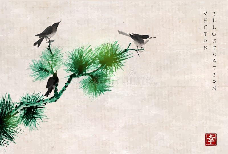 Tres pájaros en rama de árbol de pino Sumi-e oriental tradicional de la pintura de la tinta, u-pecado, ir-hua en fondo del vintag libre illustration