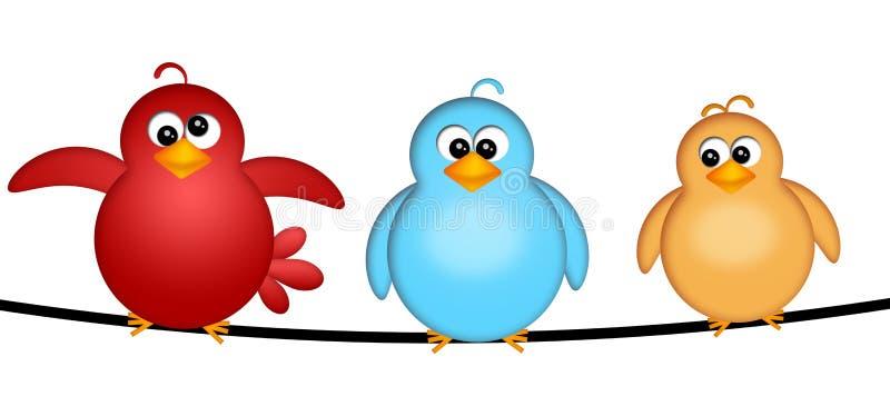 Tres pájaros en una ilustración del alambre libre illustration