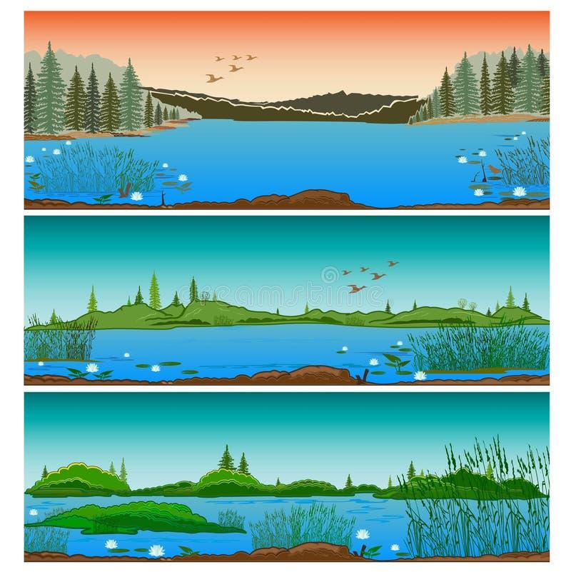 Tres paisajes horizontales del río stock de ilustración