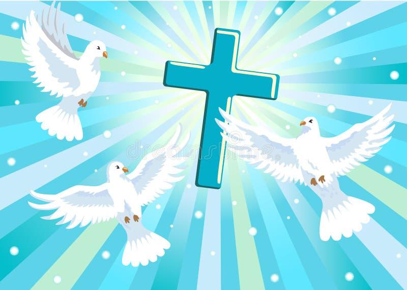 Tres palomas con la cruz ilustración del vector