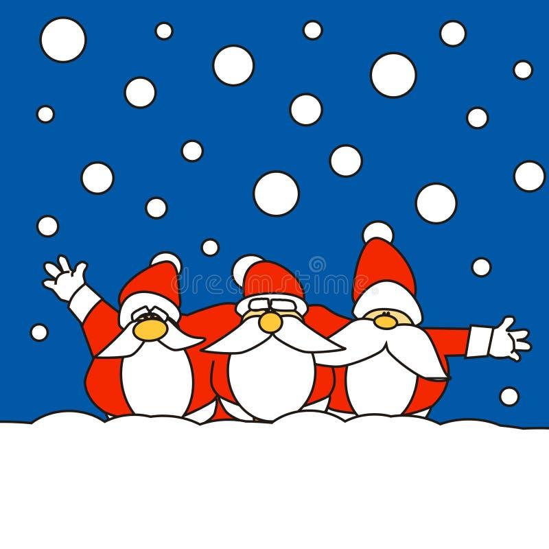 Tres Papá Noel junto en la nieve libre illustration