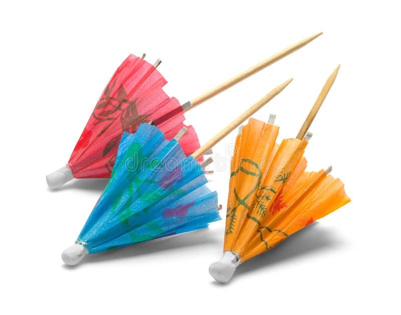 Tres paraguas del cóctel fotografía de archivo