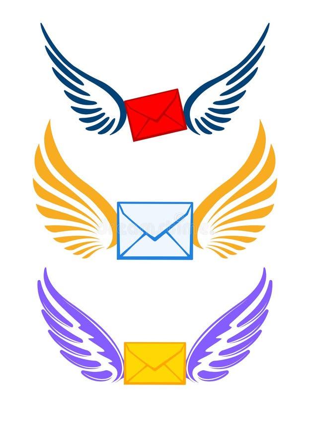 Tres pares coloridos de alas con los sobres para su logotipo o de ilustración del vector