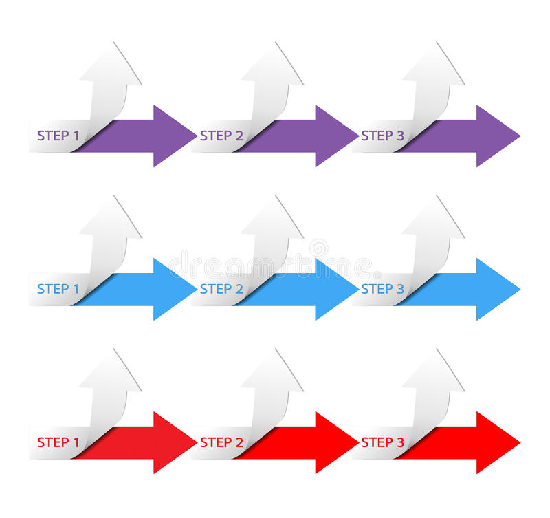 Tres pasos de progresión horizontales libre illustration