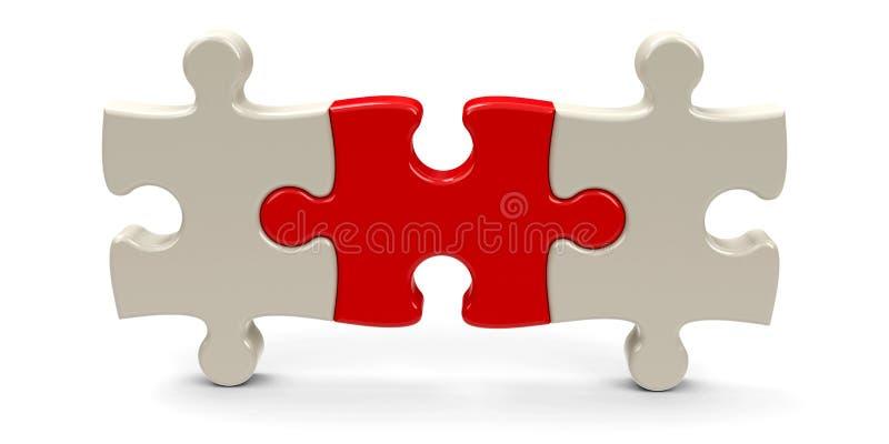 Tres pedazos 3 del rompecabezas ilustración del vector