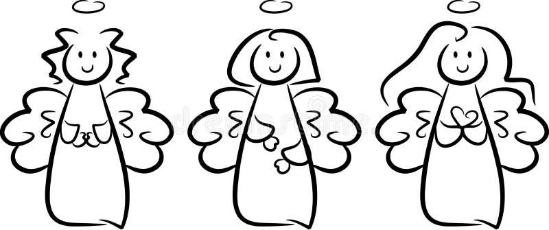 Tres pequeñas muchachas lindas del ángel libre illustration