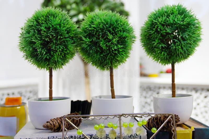 Tres peque os rboles artificiales conos naturales imagen - Arboles artificiales ...