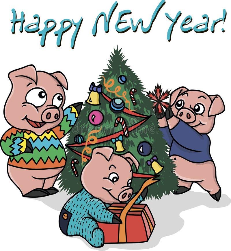 Tres pequeños cerdos en el Año Nuevo ilustración del vector