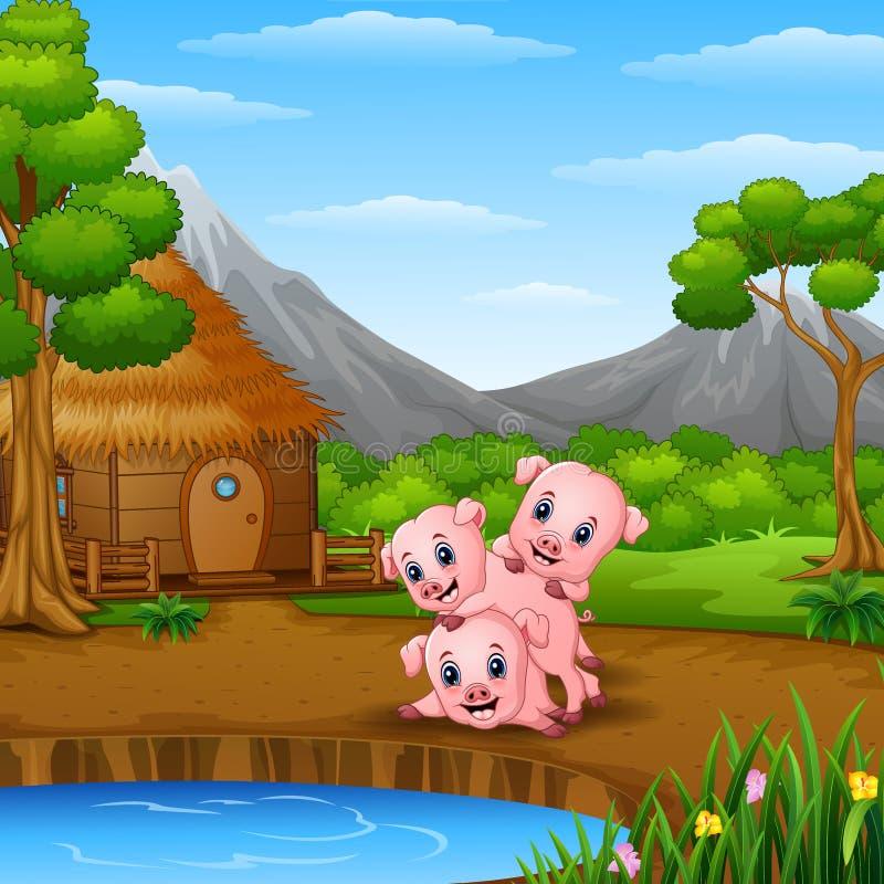 Tres pequeños cerdos están jugando al lado del lago libre illustration