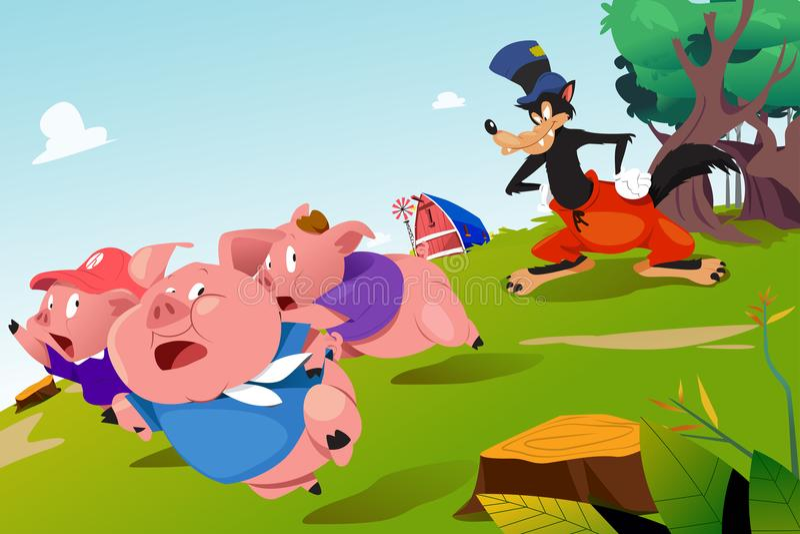 Tres pequeños cerdos y Wolf Illustration asustadizo ilustración del vector