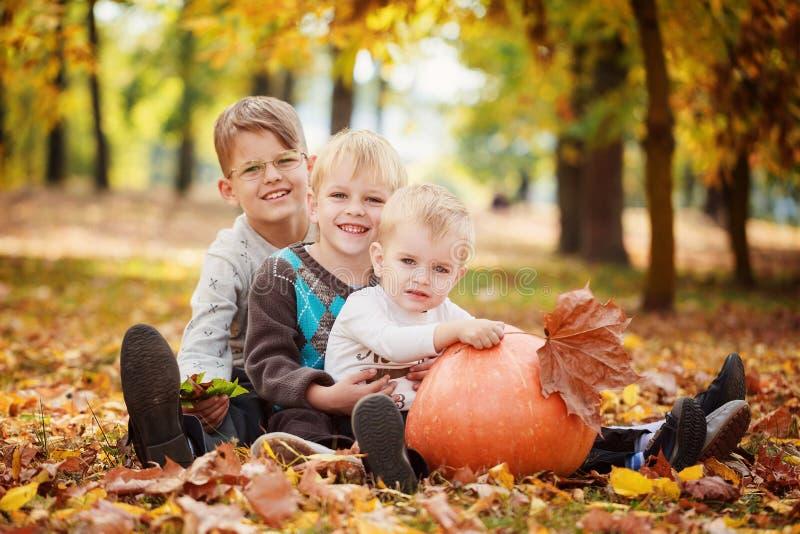 Tres pequeños hermanos que se sientan en hierba y que abrazan con la calabaza enorme en día del otoño imagen de archivo