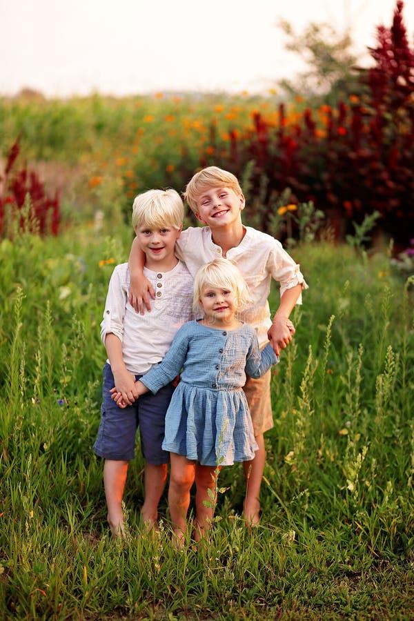 Tres pequeños niños dulces de la granja que presentan para el retrato en jardín del país fotografía de archivo